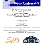 St. Mark's Nursery School & The San Diego Padres  – Celebrating 50 Year Anniversaries!